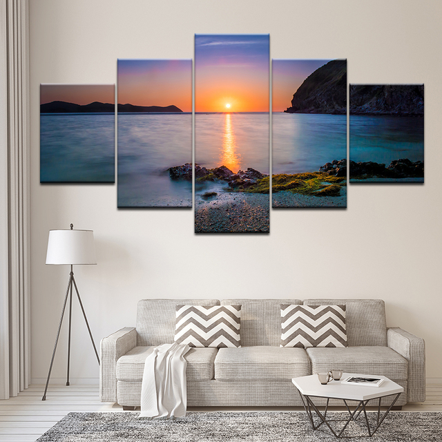 Painting Canvas Painting Seascape sea ocean with sunrise 5 Pieces Wall Art Modular Wallpapers Poster Print Home Decor Decorative