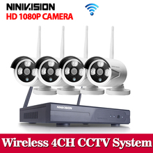 4CH 1080P Wireless NVR CCTV System Set P2P 4pcs WIFI IP Camera Outdoor 2.0MP Waterproof Security Video Surveillance Kit