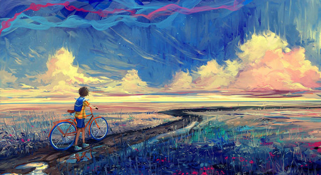 Psychedelic Trippy Boy Bike Nice Home Decor Silk Poster Art ...