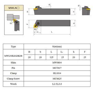 Image 3 - SHGO مجموعة من 20 مللي متر مخرطة تحول أداة حامل MWLNR2020K08 + 10 WNMG0804 إدراج كربيد