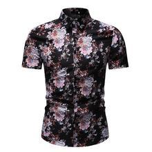 Flower Men Shirt Floral Blouse Mens clothing Short sleeve dress Shirts Casual Summer Hawaiian Style