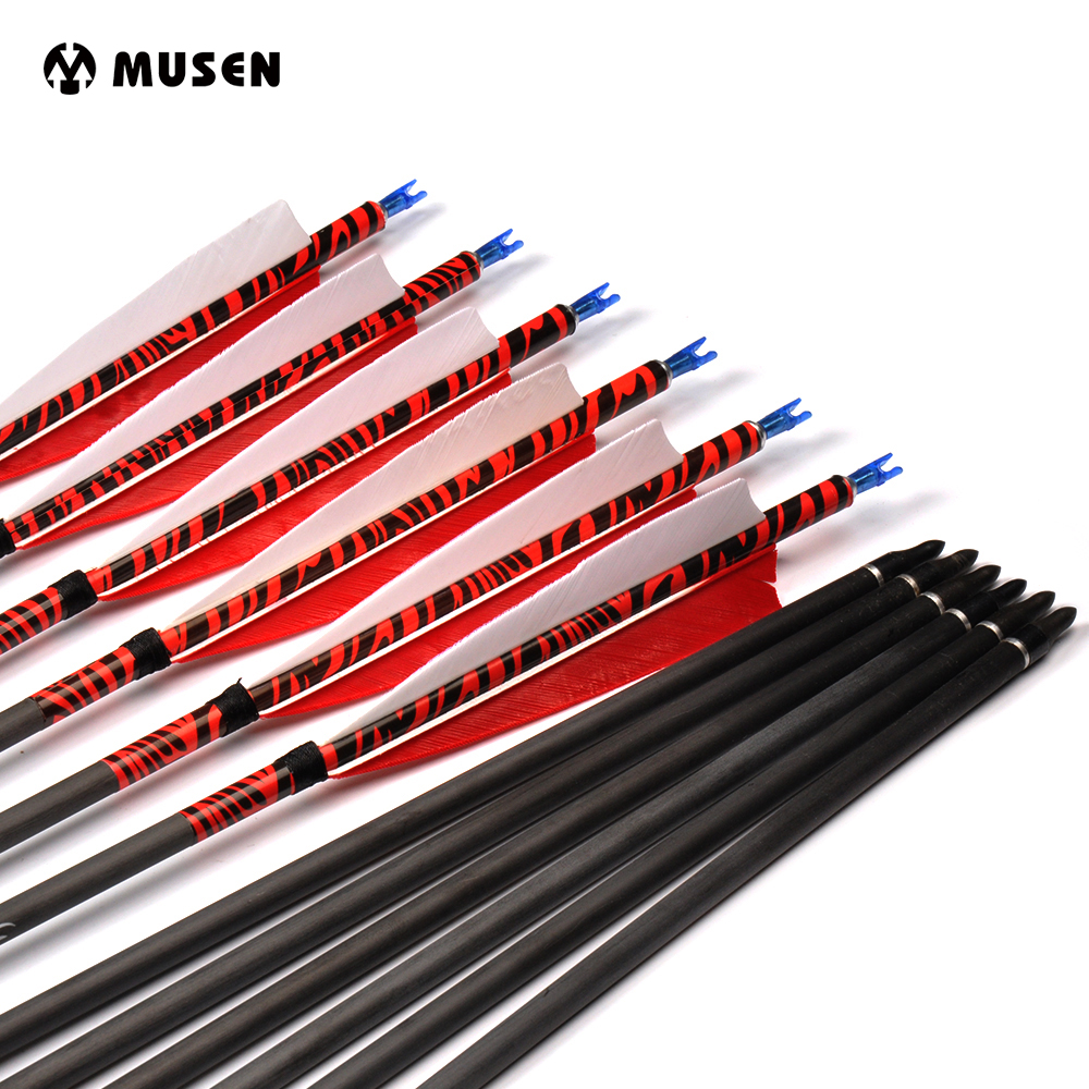 6/12/24 Pcs Pure Carbon Arrows 80cm Spine 500 Outer Diameter 7mm With Turkey feather for Recurve Bow Hunting Bow Archery 12x 31 80cm wooden arrows archery arrows with 5 blue eidolon turkey feathers for hunting high quantity