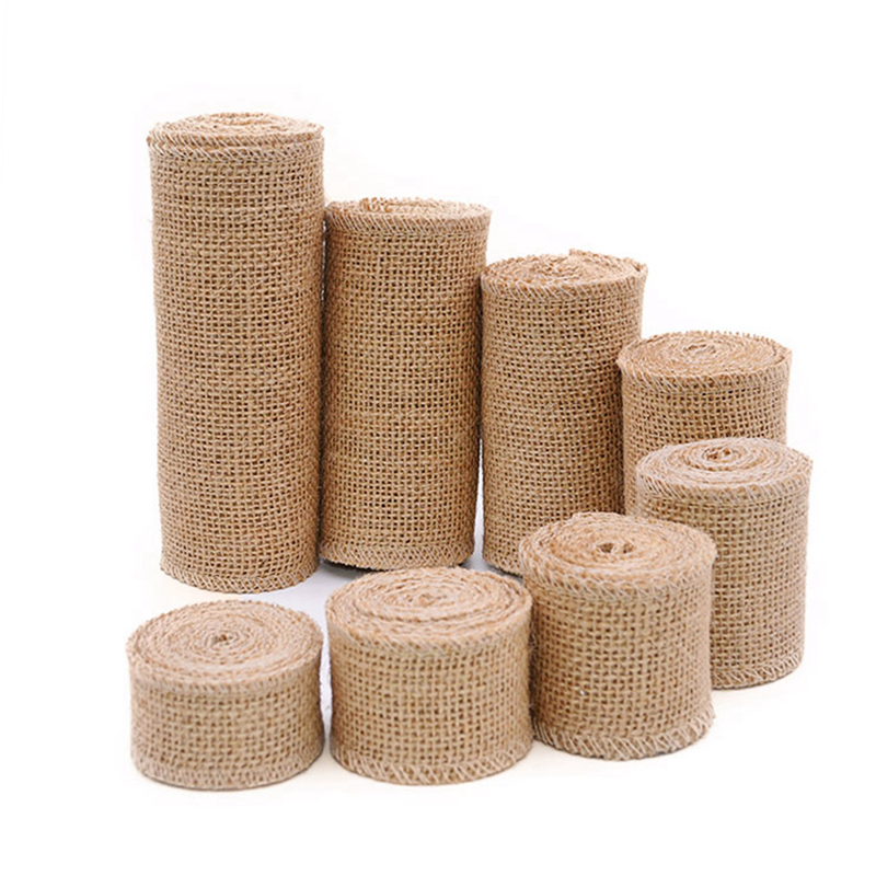 2M Natural Jute Burlap Hessian Ribbon Rolls Vintage Rustic Wedding Decoration Christmas Gift Wrapping Festival Party Home Decor(China)