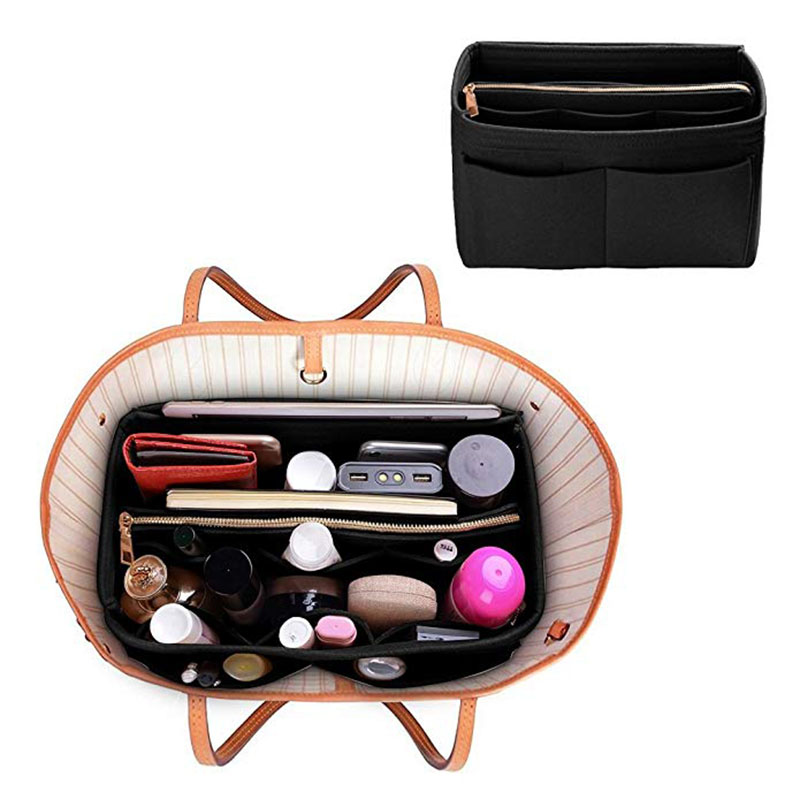 Felt Cloth Handbag Organizer Insert Bag Travel Makeup Organizer  Inner Purse Portable Cosmetic Bags Fit Various Brand Bags