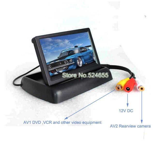 FoldableCar Monitor 4.3inch car LCD AV1 less than AV2 Video switch backup car monitor TFT hd 480*234 car monitor Free shipping
