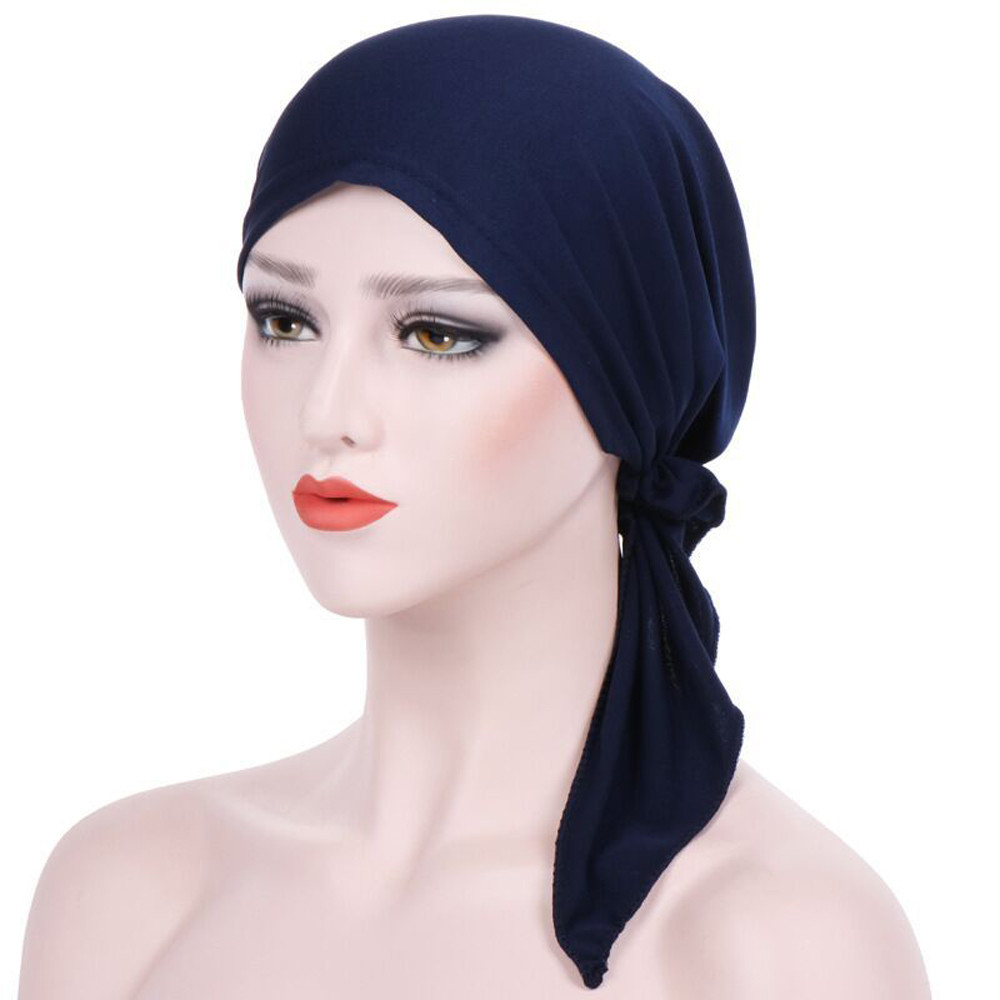 Sleeper #502 2018 Women India Hat Muslim Ruffle Cancer Chemo   Beanie   Scarf Turban Two Tail Wrap Cap daily wear solid Freeshipping