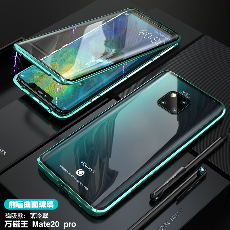 For Huawei Mate 20 Pro Magnetic Case 360 Front+Back double sided 9H Tempered Glass Case for Huawei Mate 20 Pro Metal Bumper Case