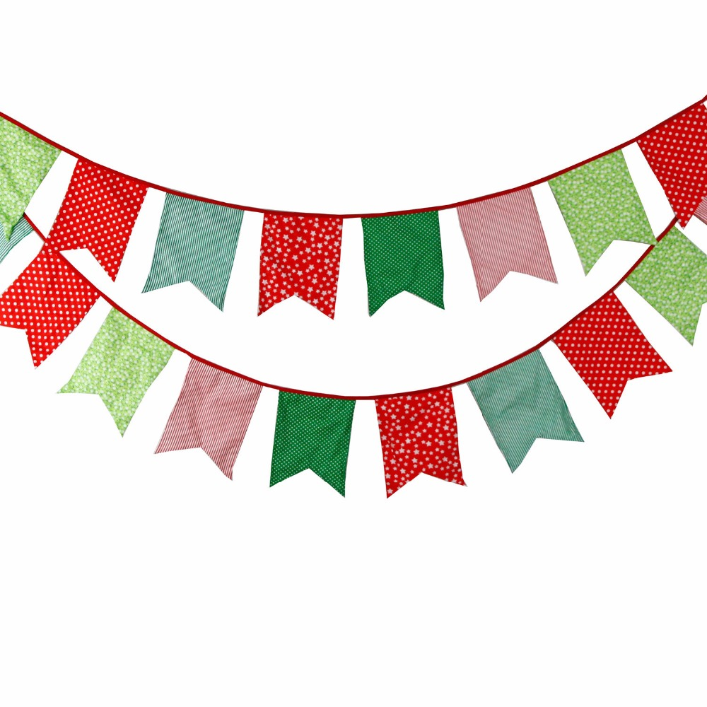 12 Flags 3.5m Green Red Five Corner Merry Christmas