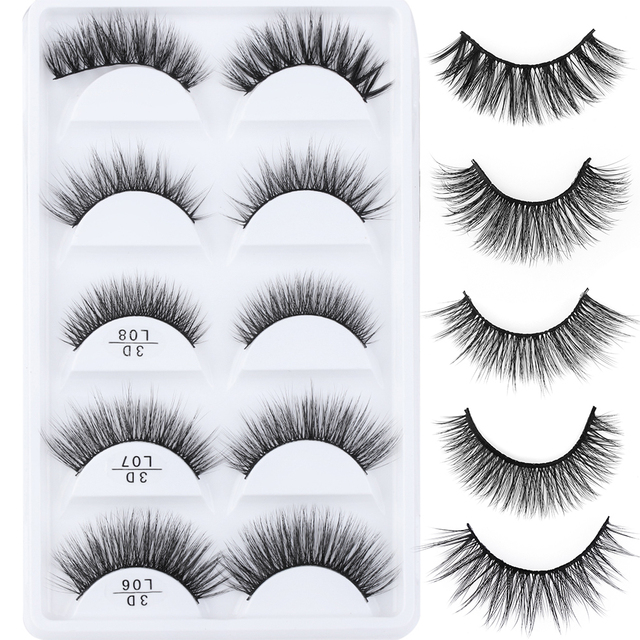 39cc3d0e337 5 Pairs 3D Soft Mink Hair False Eyelashes Multipack Wispy Fluffy Long Lashes  Extension Natural Eye Makeup Faux Eye Lashes