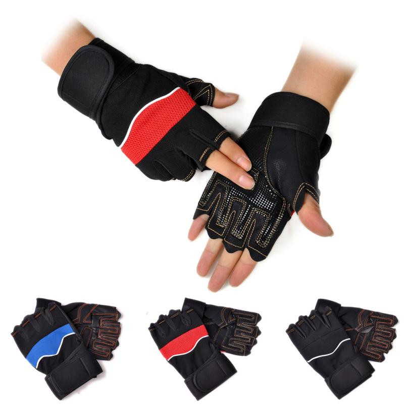 2PcsHigh Quality Gloves Gym Body Building Dumbbells Sports Exercise Training Wrist Fitness Weight Lifting Gloves Black Red Blue