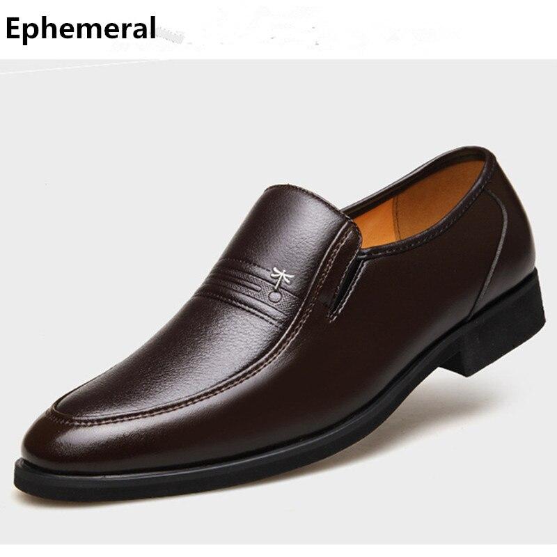 Hommes De Mode Grande taille EU37-48 Libellule Logo Bout Rond Automne Hiver Peluche Courte Chaussures En Cuir de Vache Homme D'affaires Chaussures de Travail