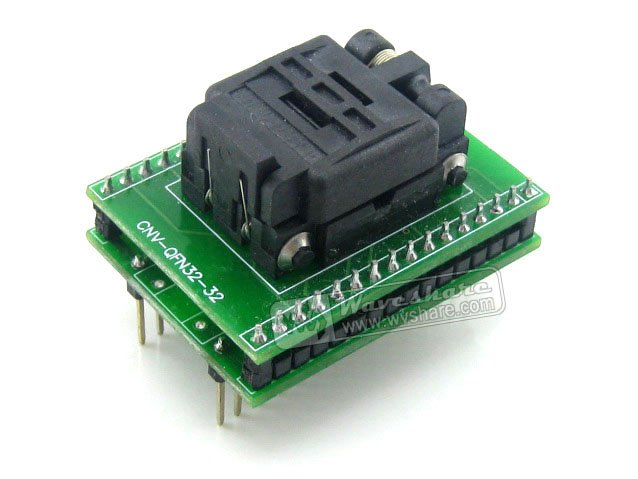 module Waveshare QFN32 TO DIP32 Plastronics IC Test Socket Programmer Adapter 5x5 mm 0.5Pitch for QFN32 MLF32 MLP32 Package fshh qfn32 to dip32 programmer adapter wson32 udfn32 mlf32 ic test socket size 3 2mmx13 2mm pin pitch 1 27mm