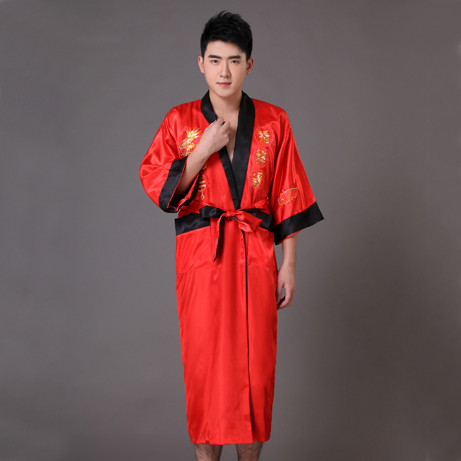⊹Reversible Red Black Chinese Men\'s Satin Robe Tradition Embroidery ...