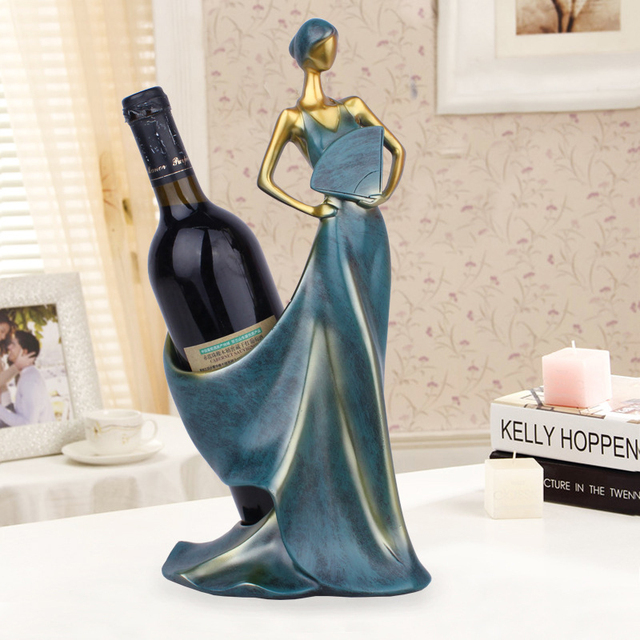 Creative Home Decorative Figurines Ornaments Modern Minimalist Blue Take Fan Beauty Wine Rack Decoration Creative Wedding Craft 2