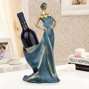 Image 2 - Creative Home Decorative Figurines Ornaments Modern Minimalist Blue Take Fan Beauty Wine Rack Decoration Creative Wedding Craft