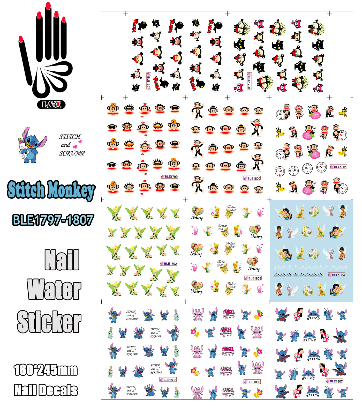 11 Sheets/Lot Art Nail BLE1797-1807 Cartoon Stitch Monkey Pucca Nail Art Water Transfer Sticker For Nail(11 DESIGNS IN 1)