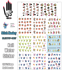 Image 1 - 11 Vellen/Lot Art Nail BLE1797 1807 Cartoon Stitch Monkey Pucca Nail Art Water Transfer Sticker Voor Nail(11 ontwerpen In 1)