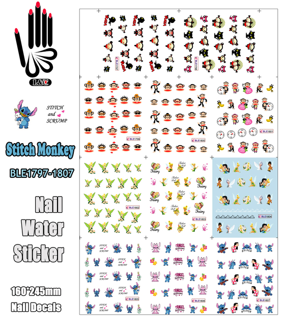 11 Vellen/Lot Art Nail BLE1797 1807 Cartoon Stitch Monkey Pucca Nail Art Water Transfer Sticker Voor Nail(11 ontwerpen In 1)