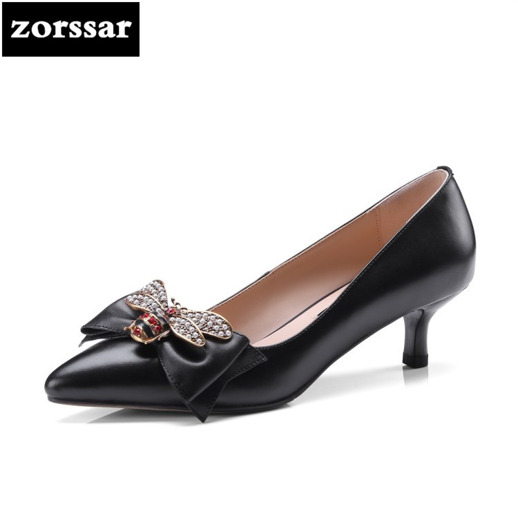 {Zorssar} 2018 NEW fashion Bee decoration Thin Heels womens shoes Pointed toe High heels pumps Shallow ladies Dress shoes new 2017 spring summer women shoes pointed toe high quality brand fashion womens flats ladies plus size 41 sweet flock t179