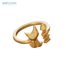 Sansummer 2019 New Hot Fashion Golden Cat Fish Adjustable Simple Girl Ring For Women Lovely Top Selling Jewelry 6203