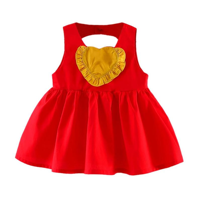 Summer Toddler Girls Dress Casual Clothing heart red Print Princess Baby Dress Cotton Backless Kids Vestidos Baby Girl Clothes
