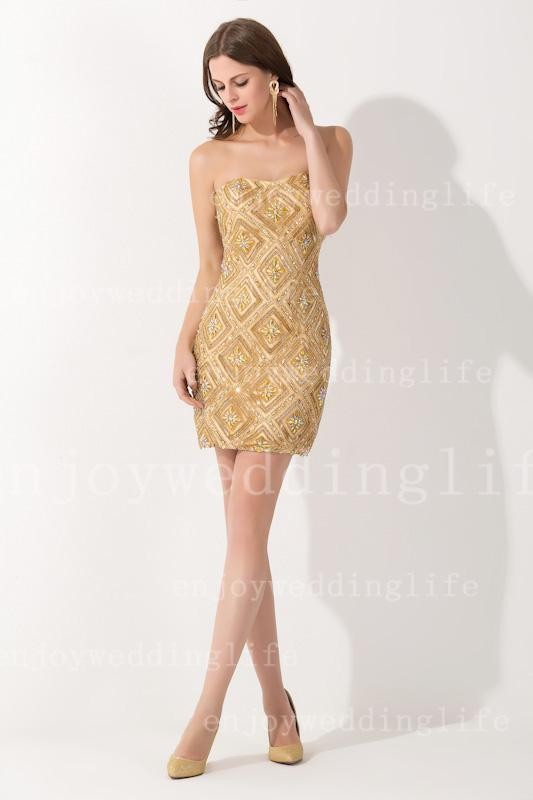 New Sexy Strapless Gold Satin Cocktail Dresses Knee Length Sheath Beaded Rhinestones Party Gowns BZP0406 (3)