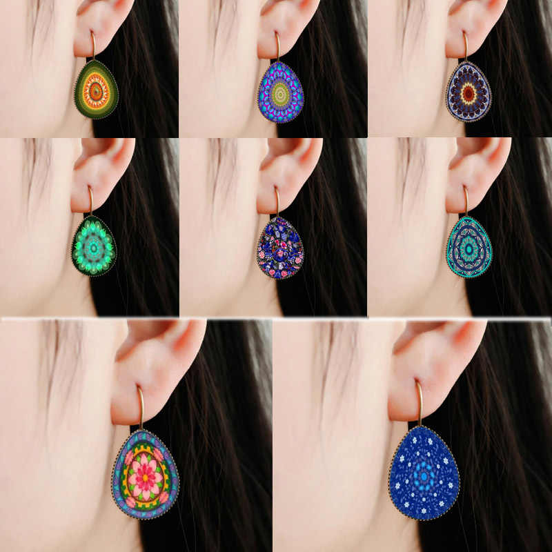 Antik 2018 Baru Klasik Retro Anting-Anting Merak Pola Kaca Teardrop Anting-Anting Fashion Perhiasan Anting-Anting Besar Grosir