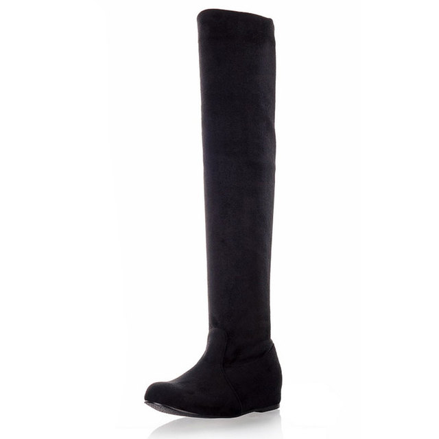 SGESVIER Women Boots Winter Autumn Fashion Flat Bottom Boots Shoes Over The Knee High Leg Suede Long Boots Brand Designer OX017