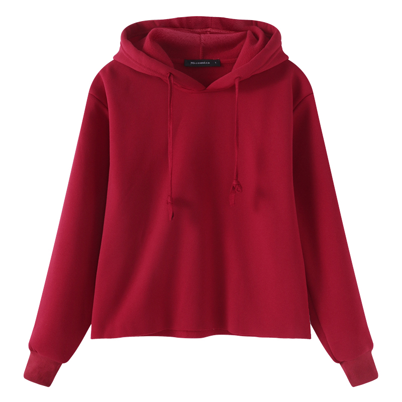 Micomico Gril Hoodies Sweatshirts Tops Pullovers Blouse 2018 Long Sleeve Casual Solid Plus Size Sportswear Streetwear Black Red