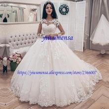 Vestidos De Novia размера плюс свадебное платье-бохо люкс с длинным рукавом Аппликации Кружева бальное платье Свадебные платья