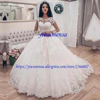 Vestidos De Novia Plus Size Wedding Dress Boho Luxury 2019 Long Sleeves Appliques Lace Ball Gown Wedding Dresses Bridal Gowns - DISCOUNT ITEM  30% OFF All Category