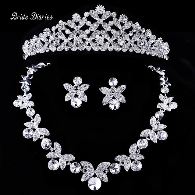Bride Diaries Bridal Flower Waterdrop Silver Color Rhinestone Bride 3pcs Set Nec