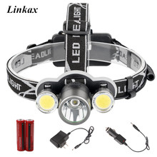 LED Headlamp Headlight 3LED XML-T6 COB LED Head Lamp Lantern 6000 lumens DIY LED Angle LED Head Flashlight Camp Hike Light 18650