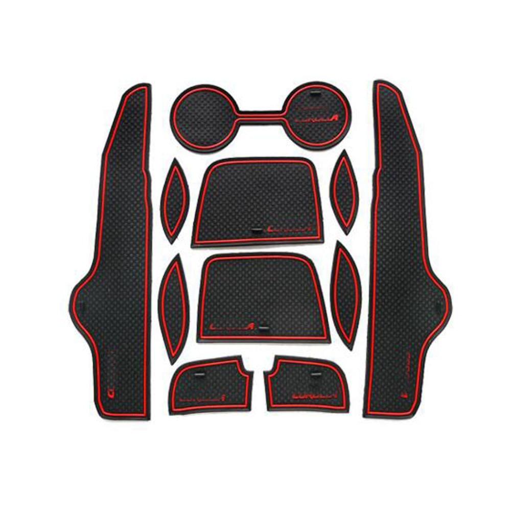 Rubber floor mats toyota camry - 11pcs Car Sticker Interior Accessories Door Rubber Non Slip Cup Floor Mats Gate Slot Pad