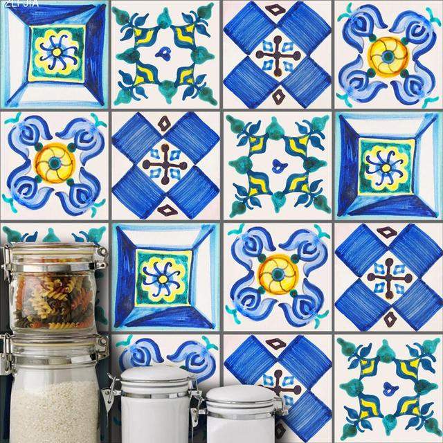 10pc/set Valencia Traditional Style Tile Wall Stickers Bedroom ...