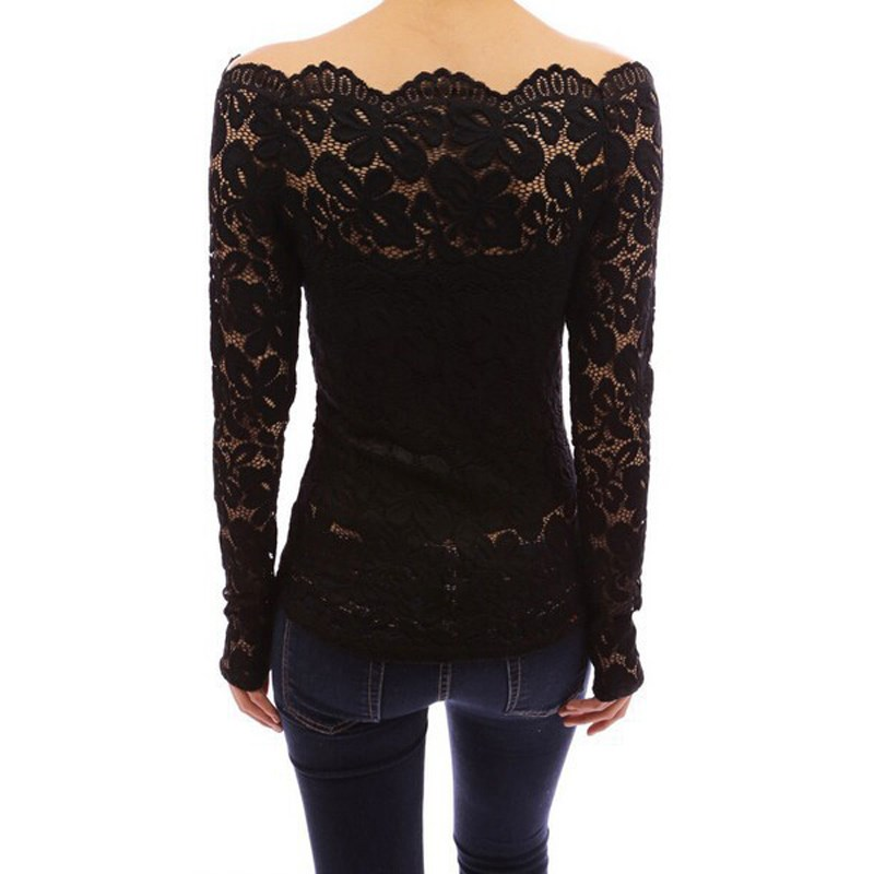Womens Casual Off Shoulder Lace Floral T-Shirt Top Bell Sleeve Tops Blouse Tee