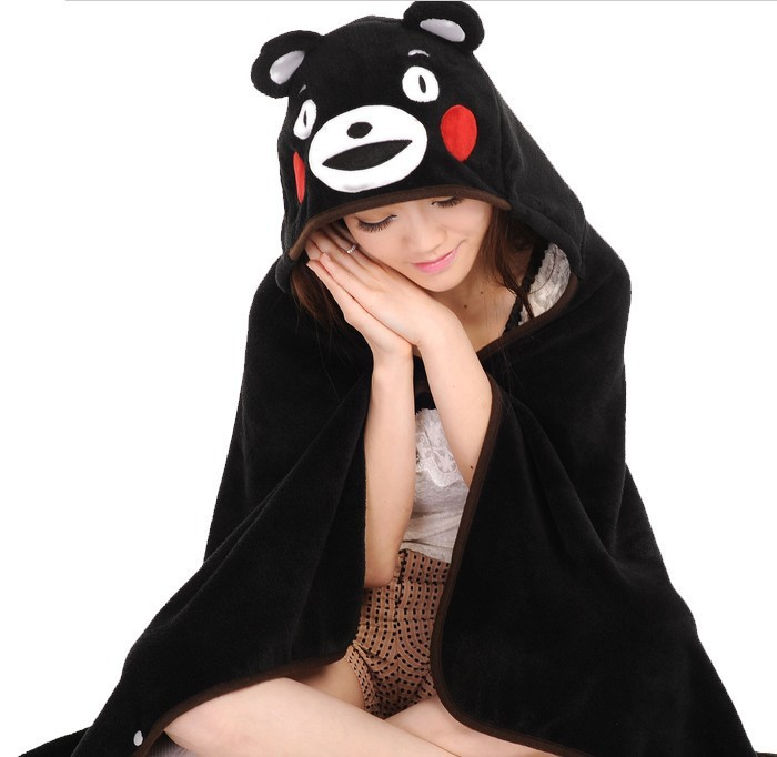 2017 new anime cartoon cape shawl female Wraps bear scarf coral fleece blanket