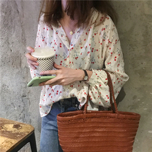 Long Sleeve Floral Blouse Women Korean Casual All-match Buttons Chiffon Shirt White Spring Autumn Black Womens Elegant