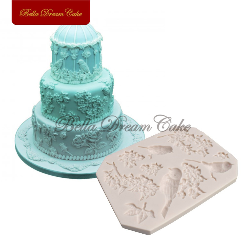Aliexpress.com : Buy Birds&Flower Silicone Mold Fondant ...