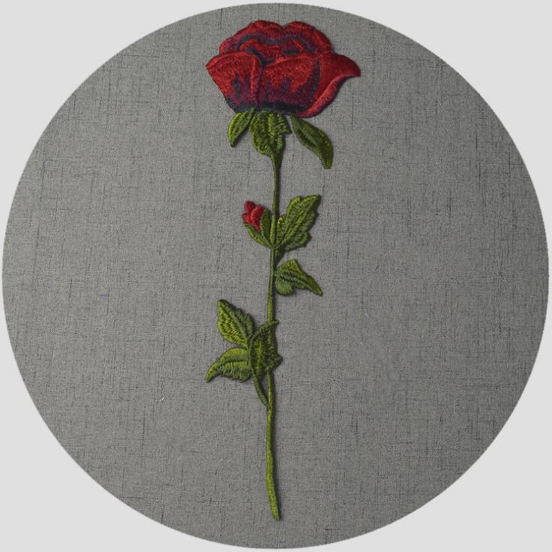 Diy Handmade Embroidered Patch: Rose Applique Flowers Patch Embroidered Sew Iron On