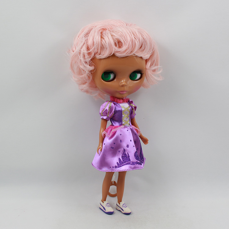 Nude Blyth doll pink short hair with black body makeup collectible blyth doll diy bjd toys for girl nude blyth joint body bjd 1 6 blyth poppen short beige hair doll toys for girls