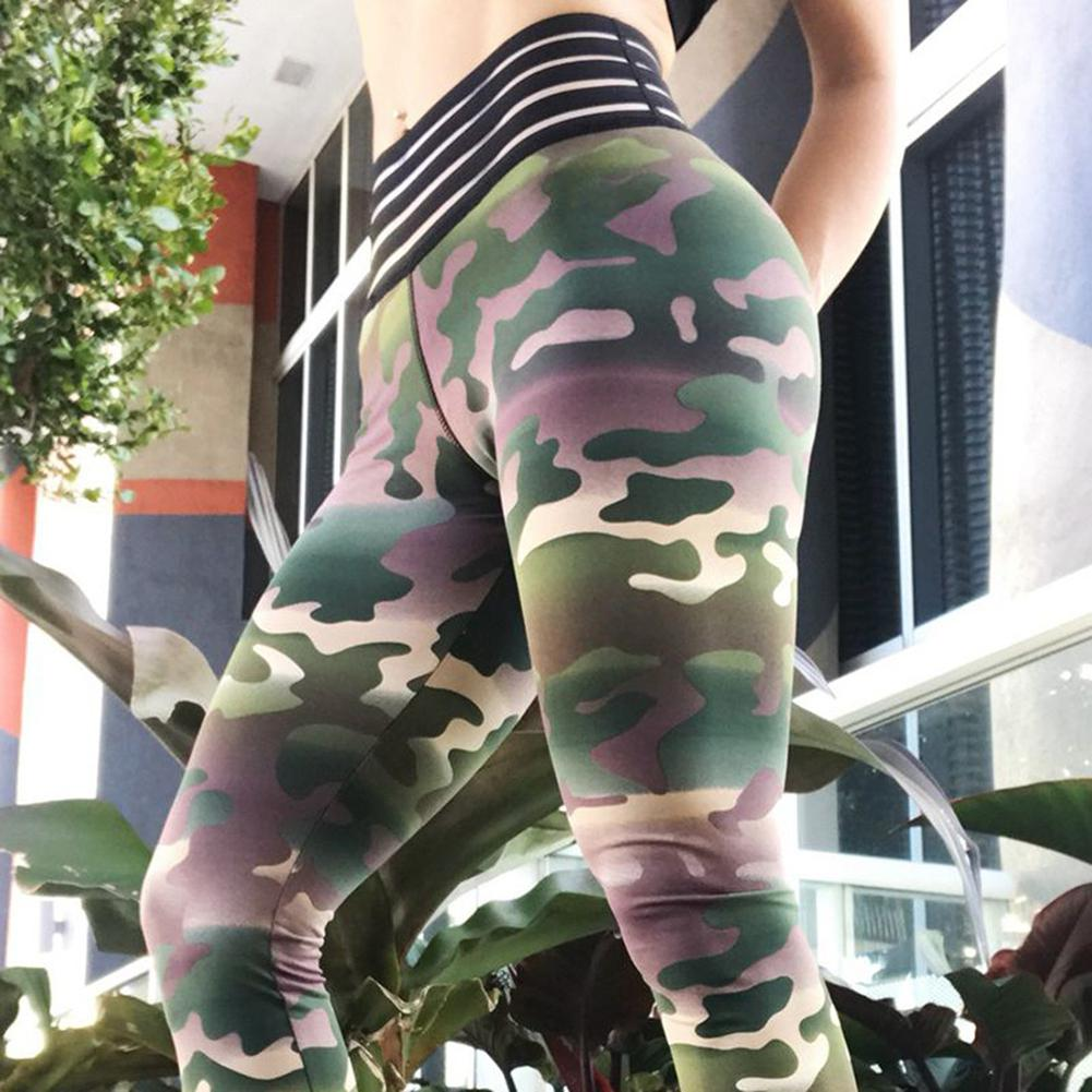 2019 New Yfashion Women High waisted Camouflage Patchwork Sport Slim Leggings in Leggings from Women 39 s Clothing