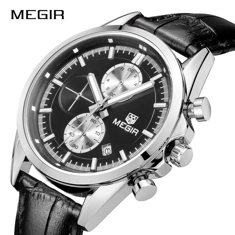 MEGIR Sports Watches Men Waterproof Fashion Quartz Wristwatches Luxury Leather Military Watch Mens Clock Male Relogio Masculino