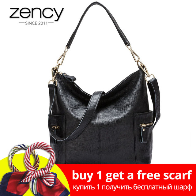 46a6e959d67 Zency 100% Genuine Leather Charm Women Shoulder Bag Large Capacity Beige Messenger  Crossbody Purse Female