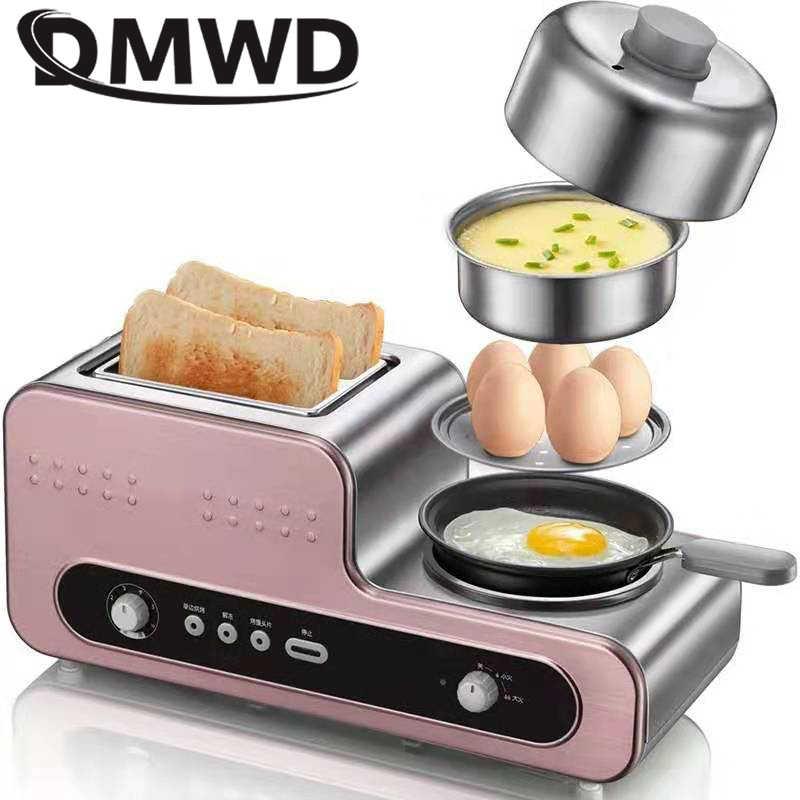 Đa năng Bánh Mỳ Ăn Sáng Máy Nướng Bánh 2 Lát Điện Lò Nướng Trứng Nồi Hơi Hấp Thực Phẩm Ô Ăn Bít Tết Chảo Chiên