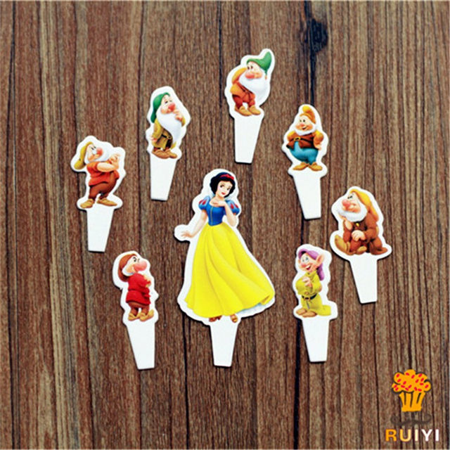 Online Shop 24pcs Snow White And The Seven Dwarfs Cake Toppers