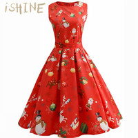 ISHINE Women New Christmas Pattern Vintage Dresses Sleeveless Floral Print High Waist Party Retro Dress Female