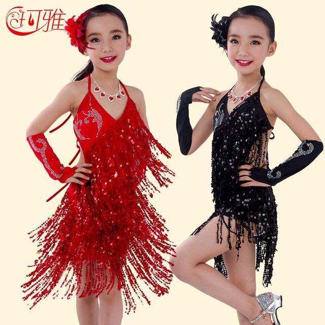 2018 New Children Latin Dance Dress for Kids Performance Wear Latin Sequin Tassel  Fringed Dance Costume Girls Skirts with Gloves d4f3f30a8c15