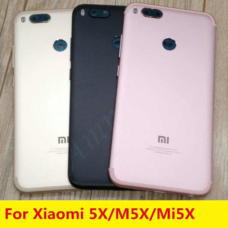 New For <font><b>Xiaomi</b></font> 5X/M5X/Mi 5X A1 Spare Parts <font><b>MiA1</b></font> Back <font><b>Battery</b></font> Cover Door Housing + Side Buttons + Camera Flash Lens Replacement image