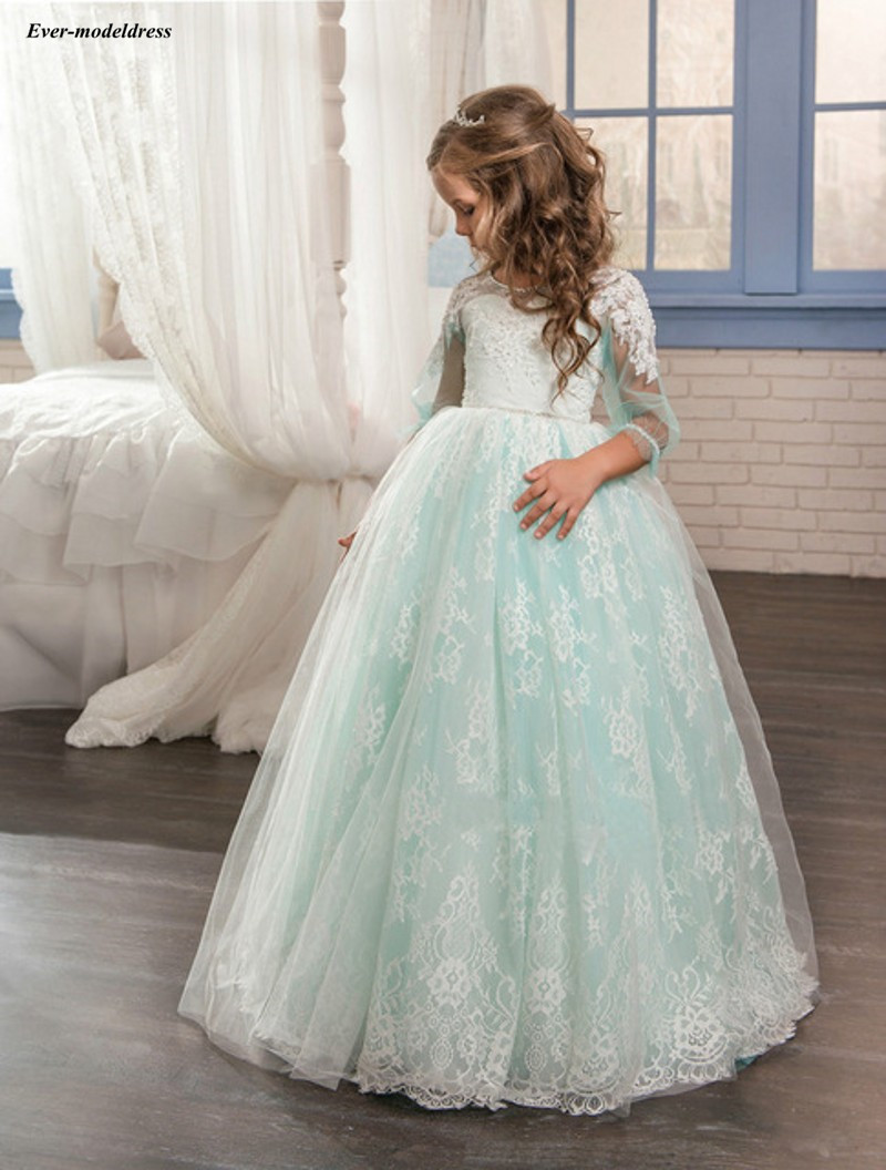 Cute   Flower     Girl     Dresses   For Wedding 2019 Lace O-Neck Three Quarters Ball Gowns Princess Birthday Party Gowns Cheap